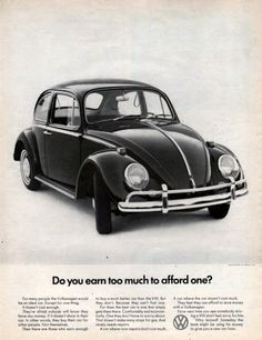 1966 Volkswagen VW Bug beetle car print ad Do You Earn by Vividiom, $9.00