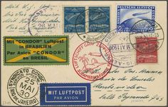 1930 South America Flight (May 18 - June 6): Postcard to Montevideo franked with Zeppelin 2 RM blue together with Condor 2 x 2.000 r. blue +...