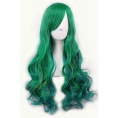 Green Inclined Bang Harajuku Gradient Long Wavy Anime Cosplay Wig (£17) ❤ liked on Polyvore featuring beauty products, haircare, hair styling tools, hair and green