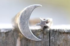 Moon, Star, Ring, Sterling Silver, Vintage, Boho Rings, Fashion, Hippie, Adjustable, Crescent Moon