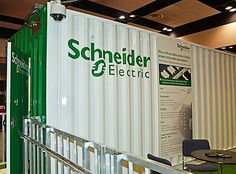 Schneider Electric pre-fab module at the Uptime Institute conference. The power module can handle 500kW of power for data centers.