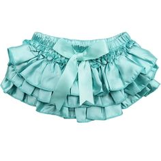 Aqua Ruffle Satin Diaper Cover