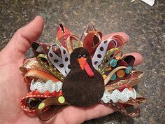 Turkey Pin How-To serendipitous! So cute; ribbon and felt with a clasp glued to the back make an ultra adorable holiday pin. Easy enough to pit together in an hour. The link has great photos for reference on how to.