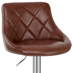 Hype Bar Stool Antique Brown - Atlantic Shopping Brown Leather Bar Stools, Diamond Pattern, Polished Chrome, Metal Working, Contemporary Design, Antiques, Modern, Shopping, Antiquities