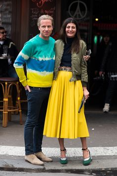 Oscar Engelbert and Giovanna Battaglia at Paris Fashion Week FW2016