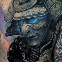 Black & Grey Realism Back Tattoo Japanese Tattoo Samurai, Samurai Tattoo Sleeve, Samurai Warrior Tattoo, Warrior Tattoos, Japanese Dragon Tattoos, Japanese Tattoo Art, Japanese Sleeve Tattoos, Tattoo Geek, Mask Tattoo