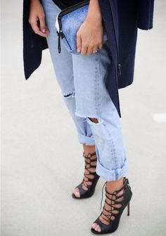 Lace-up stilettos + boyfriend jeans.