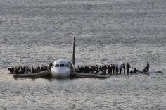 Plane Crash in the Hudson River - A Charlotte-bound US Airways flight makes a water landing off the shores of Manhattan