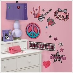 Girls Rock-n-Roll Peel & Stick Wall Decals by Roommates. $13.99