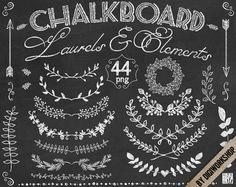 Chalkboard laurels clipart Chalkboard laurels set от DigiWorkshop  #clipart…