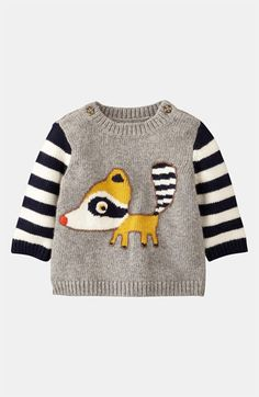 Mini Boden 'Logo' Sweater (Infant) available at - My list of the most beautiful baby products Toddler Outfits, Baby Outfits, Kids Outfits, Little Fashion, Fashion Kids, Knitting For Kids, Baby Knitting, Baby Kids, Baby Boy