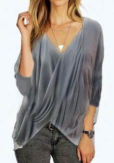 Grey Plain Irregular Draped Dolman Sleeve V-neck Oversized Casual T-Shirt