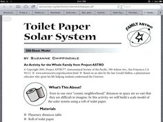 Instructions for using toilet paper to create a scaled model of the universe.  http://astrosociety.org/edu/family/materials/toiletpaper.pdf