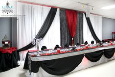 Red and black wedding, damask wedding, black and red backdrop and head table black and red flowers wedding backdrop, red and black wedding, damask Red And White Wedding Decorations, Red And White Weddings, Pink Wedding Theme, Damask Wedding, Luxe Wedding, Reception Decorations, Wedding Themes, Event Decor, Wedding Colors