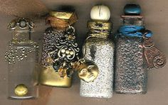 Creating Treasure Bottles with small vials.  Note, clay stoppers for tiny bottles without, line with cork.