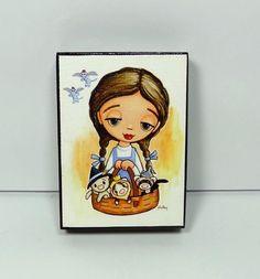 Art by Shelly Mundel Print Block-Dorothy and the Ferrets of Oz #FerretArt