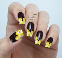 Floral one stroke nail art featuring piCture pOlish Demeter - Lucy s Stash