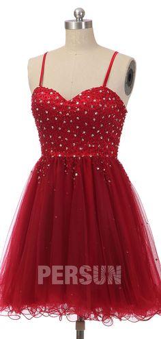 robe de cocktail rouge patineuse orné de strass