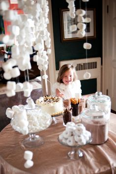 String Strung Marshmallows @ a Hot Chocolate bar ~ An interactive food fun experience {Party Guests 'pull off' their own marshmallow topping}