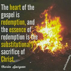 The heart of the gospel is redemption, and the essence of redemption is the substitutionary sacrifice of Christ. -- Charles Spurgeon