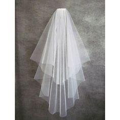 Wedding+Veil+Two-tier+Fingertip+Veils+Cut+Edge+–+AUD+$+21.44