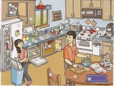THE KITCHEN 1 refrigerator, 2 freezer, 3 garbage pail 4 (electric) mixer, 5 cabinet, 6 paper towel h Dictionary For Kids, Picture Dictionary, Kitchen Utensils List, Kitchen Sink, Kitchen Mixer, White Appliances, Kitchen Appliances, Wolf Appliances, Bosch Appliances