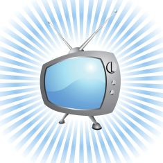 Retro Television set royalty-free vector Background with glow effect vector art illustration