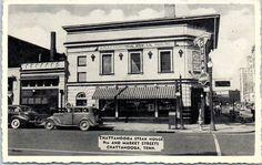 """Chattanooga, Tenn. Postcard """"CHATTANOOGA STEAK HOUSE"""" Restaurant Roadside c1940s"""