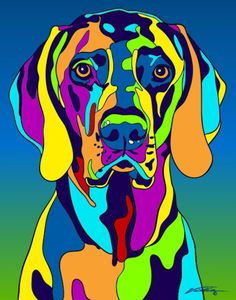 Multi-Color Weimaraner Dog Breed Matted Prints & Canvas Giclées