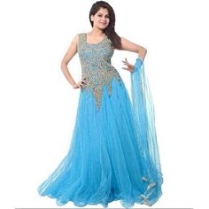 Partywear Net Embroidered Gowns from Fitabouts Gowns Online, Sarees Online, Online Shopping, Net Gowns, Nice Dresses, Prom Dresses, Lehenga Gown, Ethnic Looks, Silk Gown