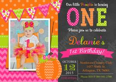 Printable pink pumpkin birthday invitation girl first birthday pumpkin first birthday invitation pink green orange pumpkin patch party filmwisefo Image collections
