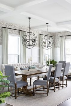 Dining Room with two Orb Chandeliers over Dining Table Dining Room with two Orb Chandeliers over Dining Table Ideas Decor Lighting All sources Dining Room with two Orb Chandeliers over Dining Table #DiningRoom #OrbChandeliers #DiningTable