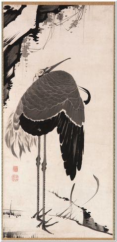 Cranes (one of a pair,) Itō Jakuchū, (1716–1800) ink on paper