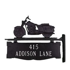 Montague Metal Products Two Line Post Address Sign with Motorcycle Finish: Satin Black