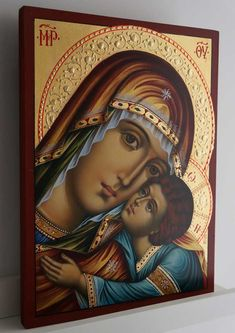 The Virgin Glykofilousa Hand-Painted Icon - BlessedMart Paint Icon, Byzantine Icons, Religious Icons, Orthodox Icons, Wood Paneling, Catholic, Mona Lisa, Christian, Hand Painted