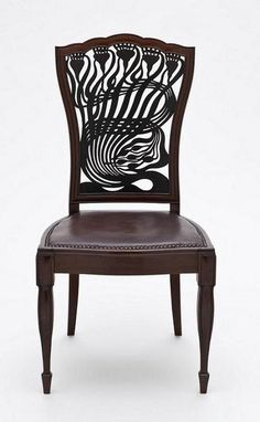 Arthur Heygate Mackmurdo (1851–1942), for the Century Guild, Chair,  ca. 1882, mahogany, leather, painted decoration.