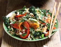Purple Sprouting Broccoli Pad Thai with Cashews & Mint Recipe | Abel & Cole