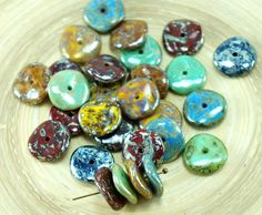 ✔ What's Hot Today: 12pcs Picasso Mix Silver Patina Red Blue Green Yellow Brown Waved Round Disk One Hole Czech Glass Disc Beads 12mm https://czechbeadsexclusive.com/product/12pcs-picasso-mix-silver-patina-red-blue-green-yellow-brown-waved-round-disk-one-hole-czech-glass-disc-beads-12mm/?utm_source=PN&utm_medium=czechbeads&utm_campaign=SNAP #CzechBeadsExclusive #czechbeads #glassbeads #bead #beaded #beading #beadedjewelry #handmade