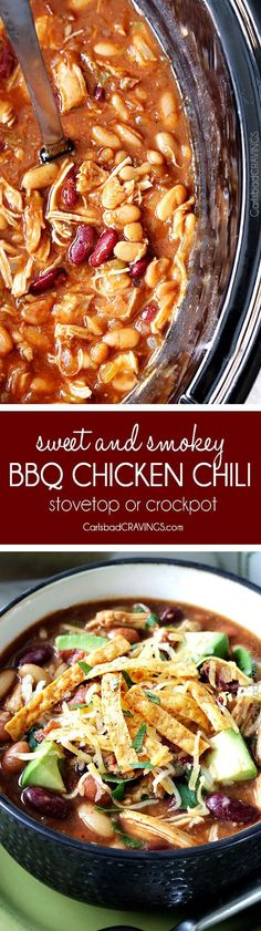 this Sweet and Smokey BBQ Chicken Chili is so good my mom made it for Christmas!  Easy to make in the crockpot or stovetop then pile  high with al your favorite toppings!. This sounds delish. Will be trying soon! via /carlsbadcraving/