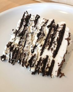 Icebox Cake - Nabisco Famous Chocolate Wafers & whipped cream. THE best dessert ever! One of my favorite desserts ever.