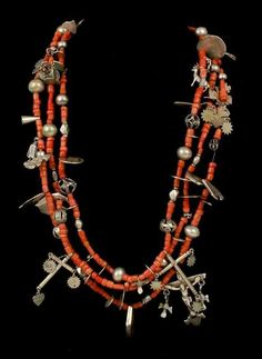 Guatemala | Ceremonial necklace; silver, coral and Colonial coins from the 16th through to the 18th century | ca. 19th century