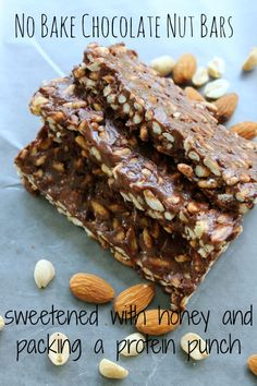 These no bake chocolate nut bars taste amazing. They satisfy a sweet tooth with honey and pack a protein punch from nut sources. Healthy Bars, Healthy Treats, Healthy Desserts, Yummy Treats, Sweet Treats, Yummy Food, Cereal Recipes, Snack Recipes, Dessert Recipes