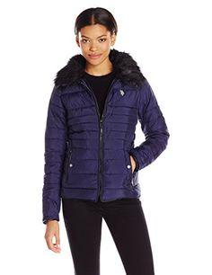 50478ef76ddd U.S. Polo Assn. Women s Puffer Fashion Jacket with Faux Fur Collar