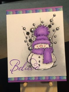 Christmas Card - Stamps: Stampabilities Believe 02, Penny Black Snowy, Hero Arts Spring Gems - Inks: Distress Ink Wilted Violet, Memento Tuxedo Black, Hero Arts Soft Granite - Prismacolor Colored Pencils: 928, 1051, 956, 1008, 932 - Viva Perlen-Pen Silver Chrome - Neenah Classic Crest Cover Solar White 80lb by jeanne