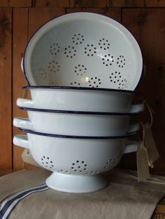 Falcon Enamelware colander for picking and washing veg from the garden or freshening greens from the grocer.