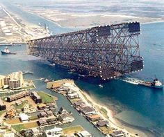 This was the oil platform Bullwinkle, Born in Ingleside, Tx at the time it was the largest man made item, taller that the empire state building. As sitting now, on the largest barge in the world, it hangs over quite a bit.