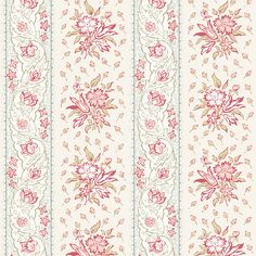 Andover Fabrics - English Diary - A 7248 R- by Renee Nanneman Pastel floral stripe 100 Percent Cotton Pastel Floral, Floral Stripe, English Diary, Andover Fabrics, Fabric Wallpaper, Fabric Patterns, Fabric Design, At Least, Quilts