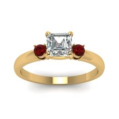 1/2 Carat Asscher And Round Diamond 3 Stone Engagement  Rings with Red Ruby in 14K Yellow Gold exclusively styled by Fascinating Diamonds