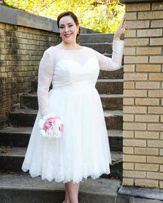 Brides of any size can have tea length custom #weddingdresses  (or even #replicaweddingdresses) made to order exactly the way they need for a great price at www.dariuscordell.com