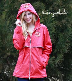 Stay dry in this stylish, wind and waterproof Monogrammed Rain Jacket! This jacket is lined with mesh for airflow circulation! Red Raincoat, Raincoat Jacket, Hooded Jacket, Monogram Jacket, Marley Lilly, Rain Jacket Women, Rain Wear, Preppy, Style Me